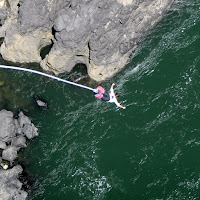 Maria taking the plunge toward the Zambezi
