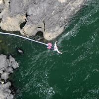 Maria taking the plunge toward the Zambezi