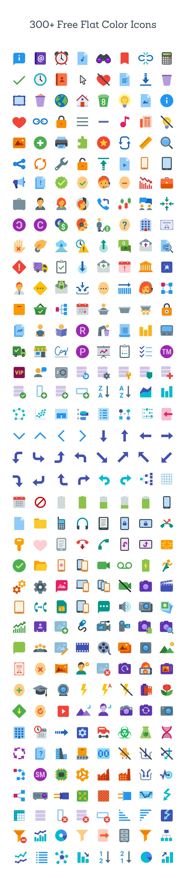 Free Download 300+ Flat Color Icons