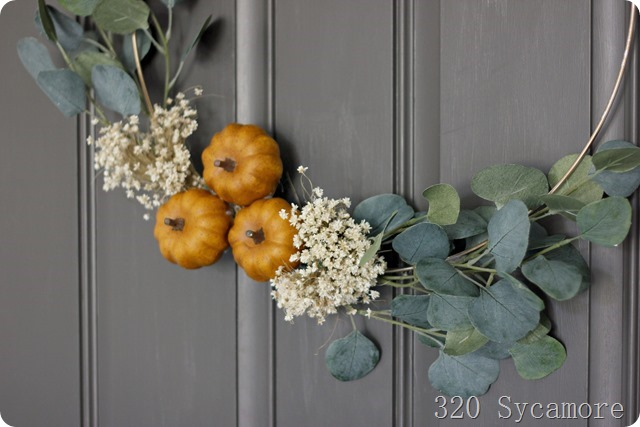 fall pumpkin eucalyptus wreath