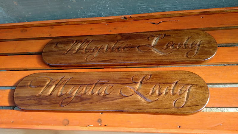mystic lady carved quarterboards in progress