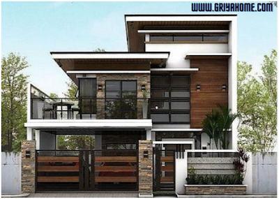 desain Rumah 2 Lantai Bernuansa Hangat