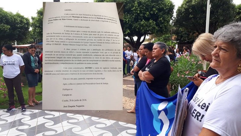 TJ decreta ilegalidade da greve dos professores em Nobres e prevê multa de R$ 5 mil por descumprimento