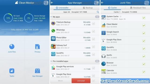 Clean Master có chức năng quản lý ứng dụng