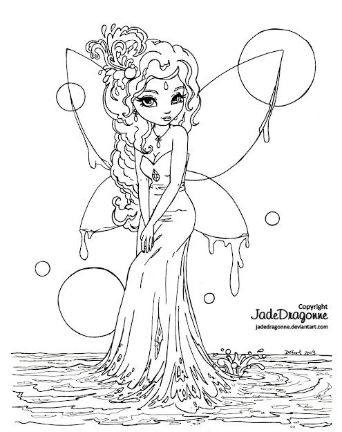 Water Fairy  Lineart By Jadedragonne On Deviantart