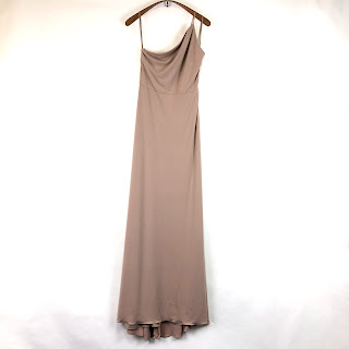 Amsale NEW Beige One Shoulder Maxi Dress