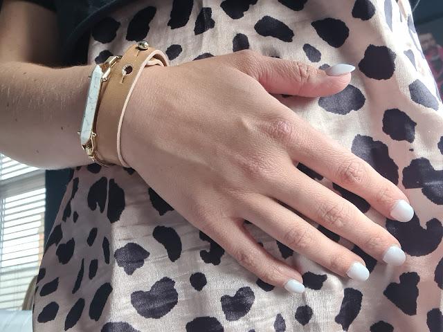 Stella & Dot Rebel Stone bracelet Paul Smith leather cuff