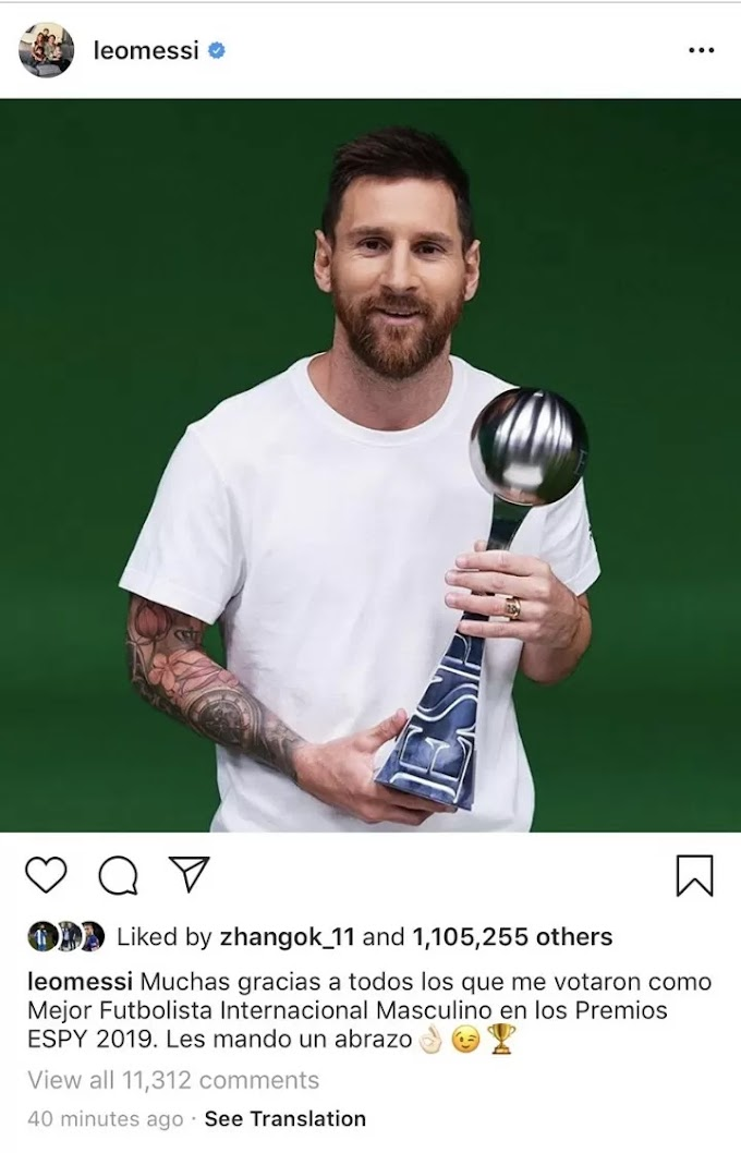 Messi thanks fans for voting him as Best Male International Football Player in 2019 ESPY Awards