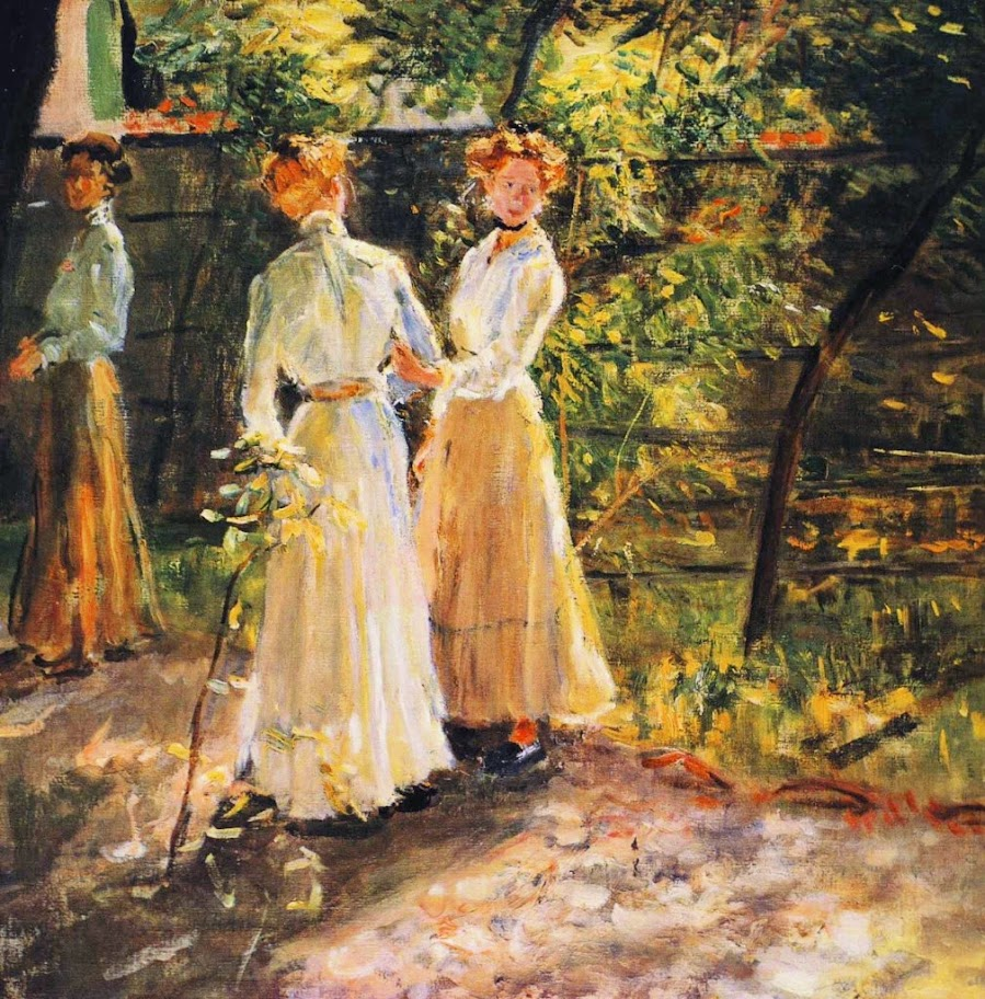 Fritz von Uhde - The Daughters of the artist in the garden(ca.1900)