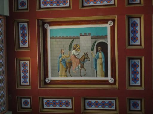 Entrada de Jesus em Jerusalém, simbolizando o Domingo de Ramos - Santuário Sagrado Coração de Jesus - Detalhes do Teto