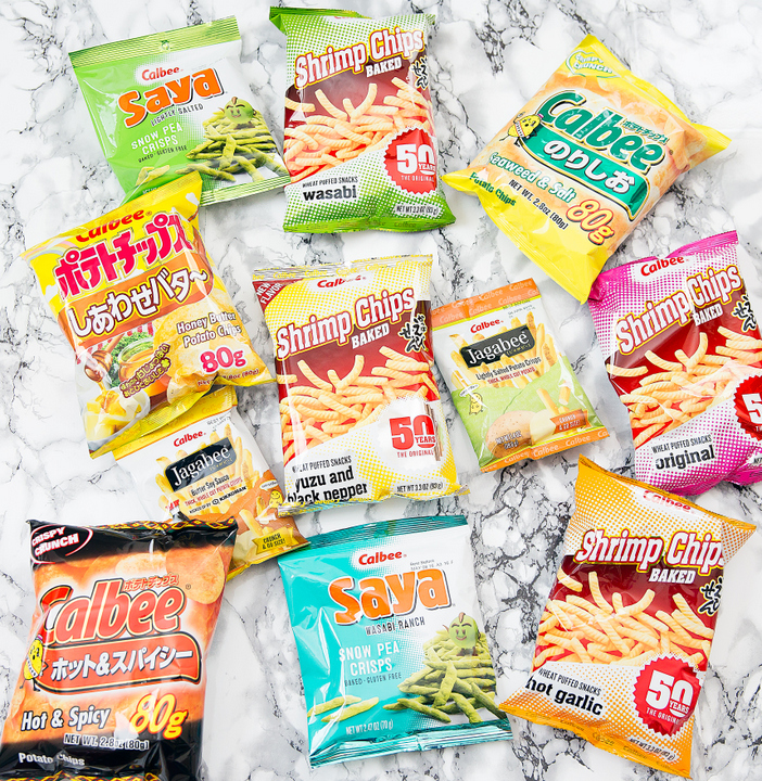 overhead photo of different kinds of Calbee snacks