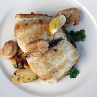 Cod, Scallops, and Spinach.