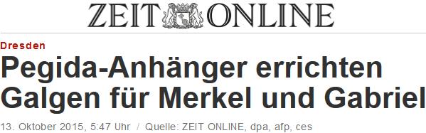 Pegida-Anhänger errichten Galgen für Merkel und Gabriel