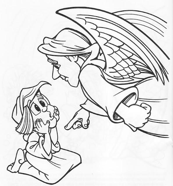 Angel Gabriel y María para colorear