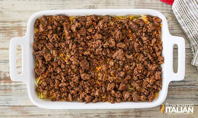 layered bean dip seasoned beef layer