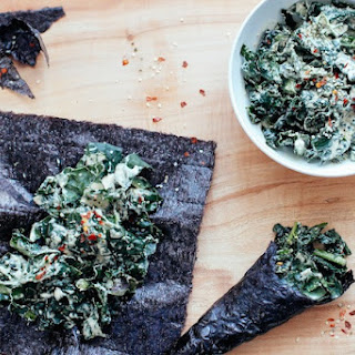 Raw Kale Caesar Salad Wraps