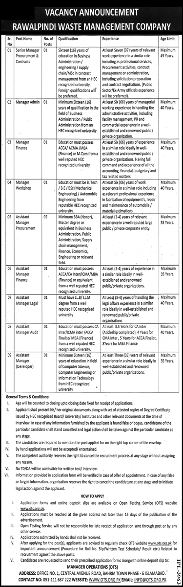 This page is about Rawalpindi Waste Management Company Jobs April 2021 Latest Advertisment. Rawalpindi Waste Management Company invites applications for the posts announced on a contact / permanent basis from suitable candidates for the following positions such as Senior Manager Procurement & Contracts, Manager Admin, Manager Finance, Manager Workshop, Assistant Manager Procurement, Assistant Manager Finance, Assistant Manager Legal, Assistant Manager Audit, Assistant Manager Developer. These vacancies are published in Nawaiwaqt Newspaper, one of the best News paper of Pakistan. This advertisement has pulibhsed on 30 April 2021 and Last Date to apply is 14 May 2021.