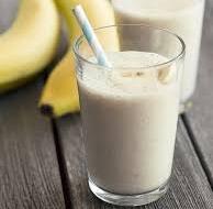 Delicious banana smoothie milk shake