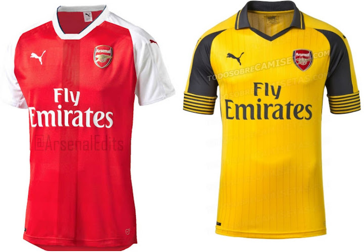 Arsenal s Puma home and away kits for 2016-17 seasons are leaked and home  kit comes in traditional design while the away kit return to yellow colour. e4c5e673c