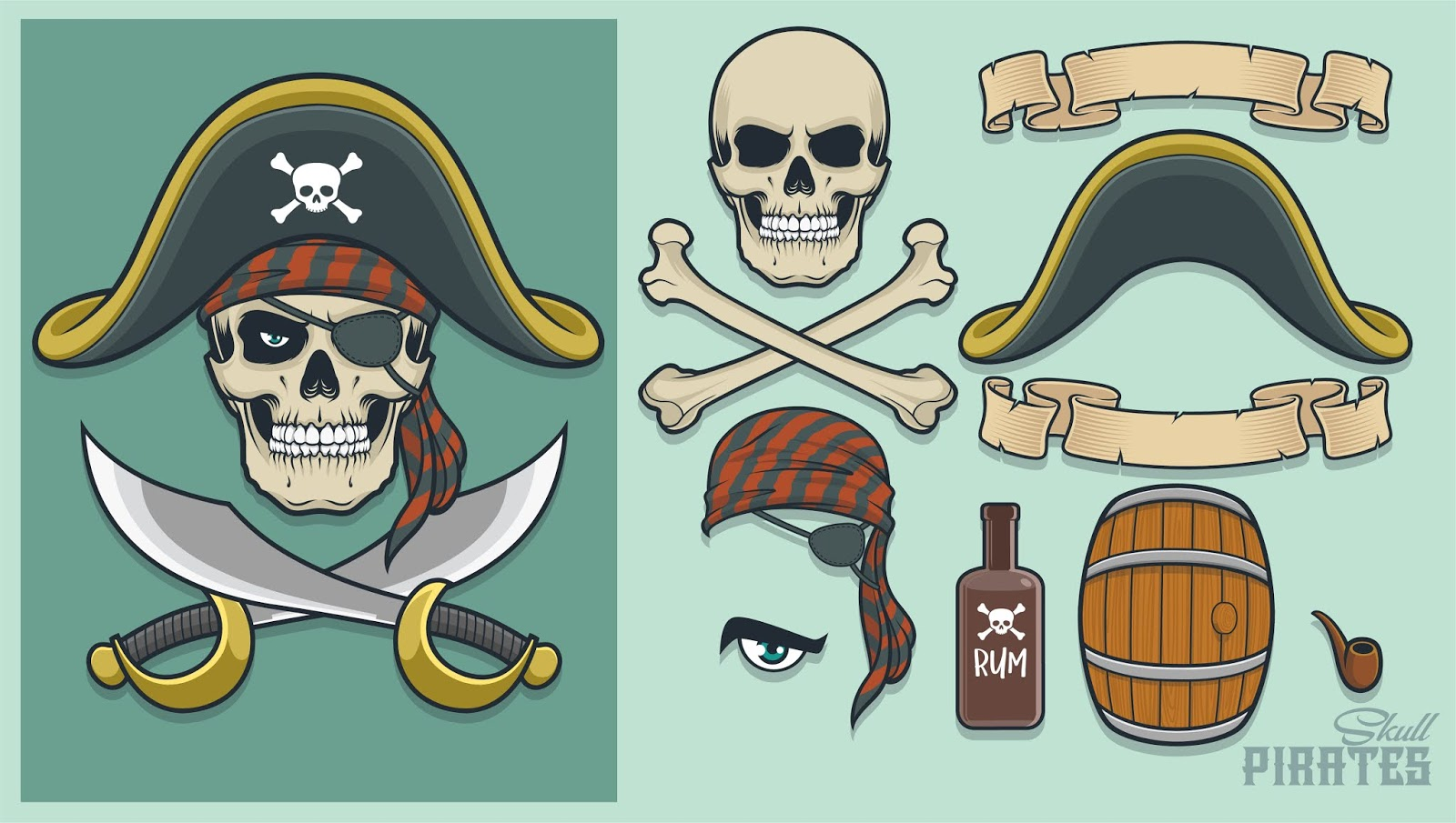 Pirate Elements Creating Mascot Logo Free Download Vector CDR, AI, EPS and PNG Formats
