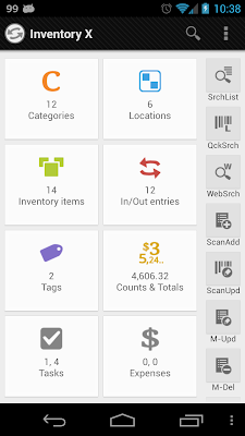 Inventory X - Main screen
