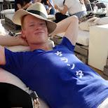 relaxing at CABAN Tomorrowland at Hayama beach near Tokyo in Hayama, Kanagawa, Japan