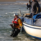 Crew Member Simon Mumford during a shout in Studland Bay