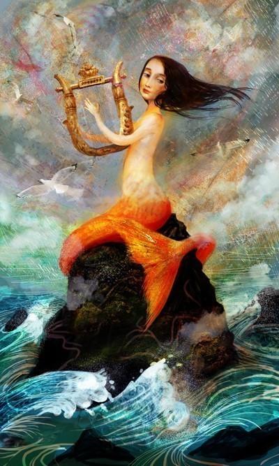 Wrecker Mermaid And Harp, Mermaids