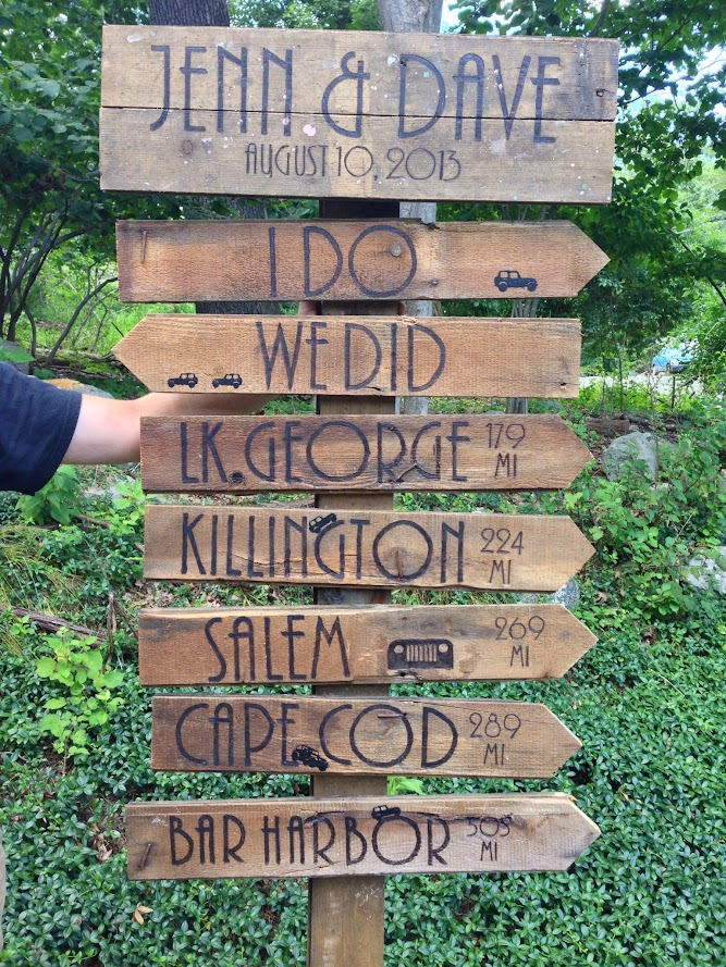 Wood burning wooden directional wedding sign