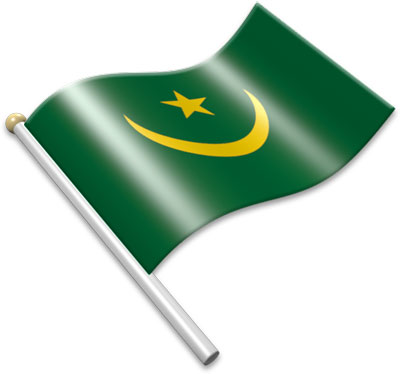 The Mauritanian flag on a flagpole clipart image