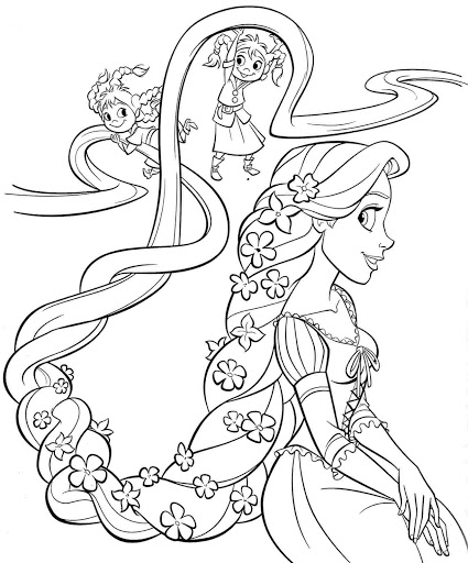 Coloring Pages Printable Free Disney Princess Rapunzel Sheets For Kids