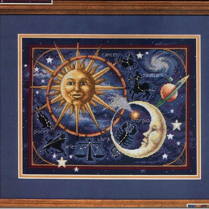 Punto de cruz sol y luna en el cosmos gráficos gratis