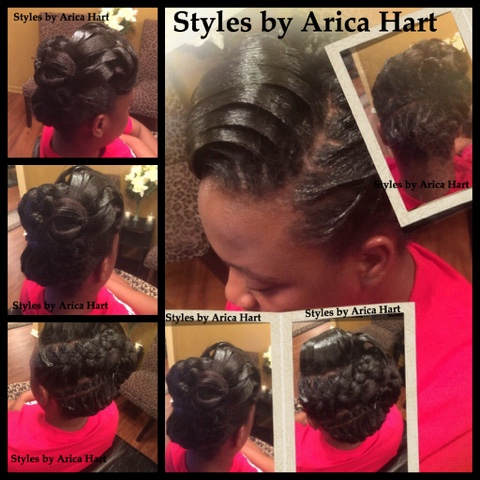 Lifted braid, updo, black hair style, ridges