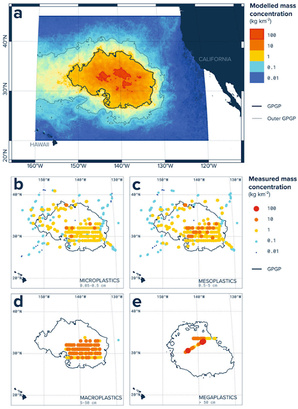 Modelled and measured mass concentration in the Great Pacific Garbage Patch (GPGP). (a) Ocean plastic mass concentrations for August 2015, as predicted by our data-calibrated model. The bold black line represents our established limit for the GPGP. (b) Microplastics (0.05–0.5 cm) mass concentrations as measured by Manta trawl (n = 501 net tows, 3.8 km2 surveyed). (c) Mesoplastics (0.5–5 cm) mass concentrations as measured by Manta trawl; d) Macroplastics (5–50 cm) mass concentrations as measured by Mega trawl (n = 151 net tows, 13.6 km2 surveyed); (e) Megaplastics (>50 cm) mass concentrations as estimated from aerial imagery (n = 31 mosaic segments, 311.0 km2 surveyed). All observational maps are showing mid-point mass concentration estimates as well as the predicted GPGP boundaries for the corresponding sampling period: August 2015 for net tow samples, and October 2016 for aerial mosaics. Graphic: Lebreton, et al., 2018 / Scientific Reports