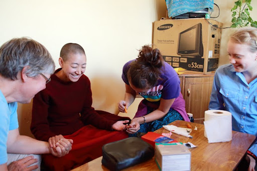 Nun receiving hemoglobin test, Gephel Shadrubling Nunnery, Ladakh, India, June 2012. Photo by Marlies Bosch.