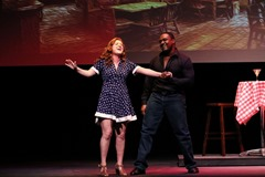 Miranda (Allie Ambriano) and Guy (Shabazz Green) sing Better Saturday Nights; photo by Jack Gra