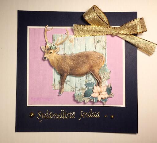 joulukortti peura 3D-kuva SapiDesign