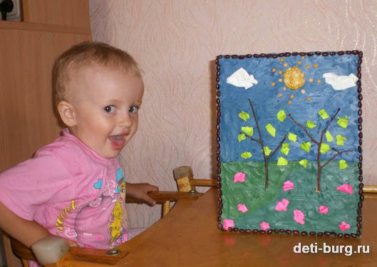 Картина из пластилина и крупы