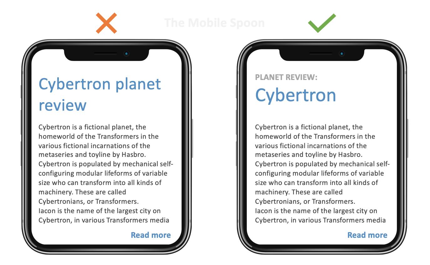 Mobile UI Design - If your headlines get too long - consider using eyebrow headlines