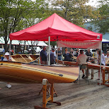 canoes on display in Vancouver, British Columbia, Canada