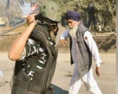 पोलिसांनी शेतकऱ्याला मारणं सोडा स्पर्शही न केल्याचा भाजप आयटी सेलचा दावा