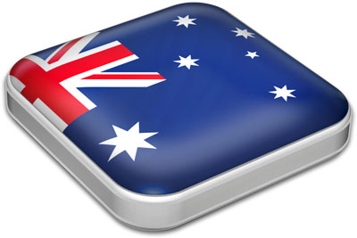Flag of Australia with metallic square frame