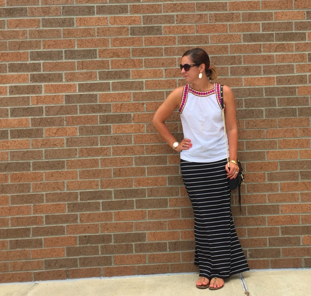 how to wear a maxi skirt, old navy, rebecca minkoff, kendra scott, boho chic
