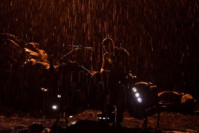 Riddick & hover bike in rain