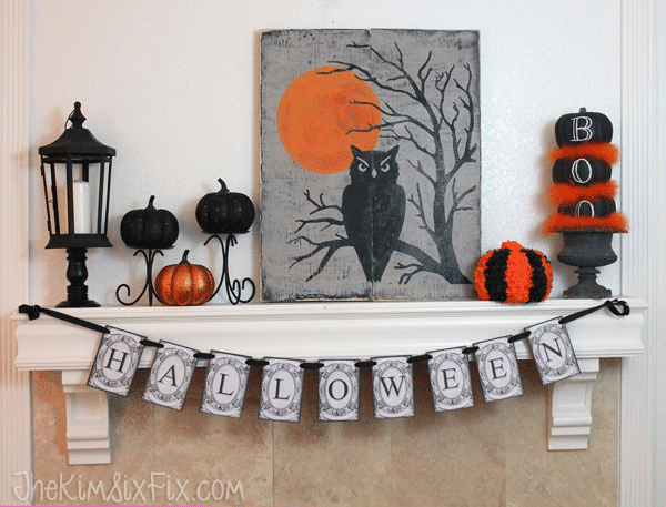 Owls and pumpkins halloween mantle