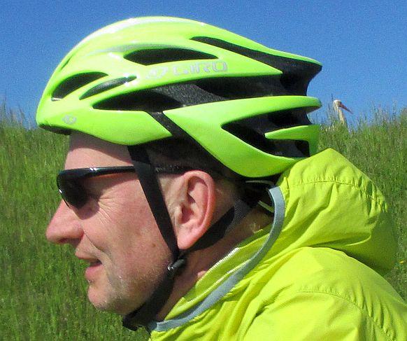 Chris on the Bike und ein Storch im Rheintal bei Gernsheim