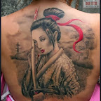 Geisha warrior full back - tattoo meanings