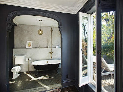 jenna lyons home brooklyn townhouse interior design home decor navy bathroom