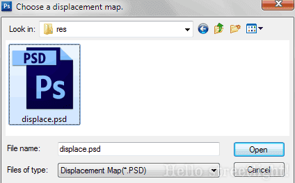 Open the displacement map file.
