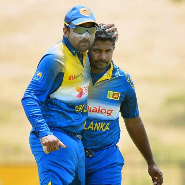Sri Lankan cricketer Rangana Herath (R) celebrates with teammate Mahela Jayawardene after dismissing South African cricketer Hashim Amla during the third and final One Day International (ODI) cricket match between South Africa and Sri Lanka at the Mahinda Rajapaksa International Cricket Stadium in Hambantota on July 12, 2014.